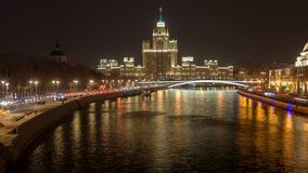 Moscow night downtown timelapse stock footage