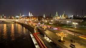 Moscow night downtown timelapse stock video