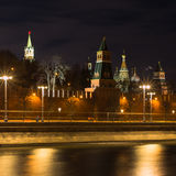 Moscow night lights three Royalty Free Stock Image