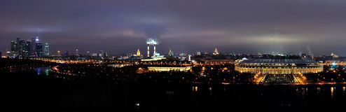 Moscow at night Panorama. Skyline of Moscow, Russia, at night. Panorama.  Vorobyevi gory Royalty Free Stock Photos