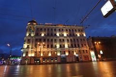 Moscow by night. Tverskaya street Stock Images