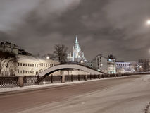 Moscow night view. With bridge and stalin skyscraper Royalty Free Stock Images