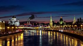 Moscow night view stock footage