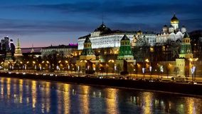 Moscow night view stock video footage
