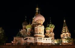 moscow noc czerwony Russia kwadrat Zdjęcia Royalty Free