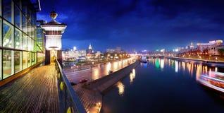 moscow noc rzeka Fotografia Royalty Free