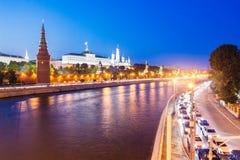 moscow noc rzeka Widok Kremlowska ściana Wielki Kreml i Zdjęcie Stock