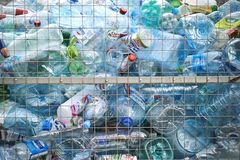 Moscow-9 November,2017.Container for used plastic bottles for recycling. Moscow-9 November,2017. Background with a container for used plastic bottles for Stock Photography