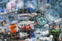 Moscow-9 November,2017.Container for used plastic bottles for recycling Stock Images
