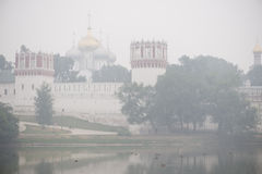 Moscow Novo Devichiy Convent in smog2 Royalty Free Stock Photography