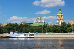 Moscow, Novospasskiy monastery and cruise boat royalty free stock photo