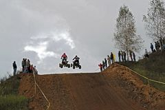 MOSCOW OBLAST, RUSSIA - SEPTEMBER 24 : Motocross, spectacular and extreme sport, off-road racing Quad bike ATV Russia, Klin 24 S. MOSCOW OBLAST, RUSSIA Royalty Free Stock Photography