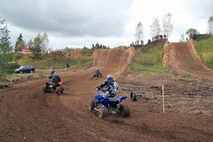 MOSCOW OBLAST, RUSSIA - SEPTEMBER 24 : Motocross, spectacular and extreme sport, off-road racing Quad bike ATV Russia, Klin 24 S Stock Photo