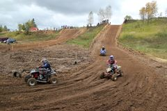 MOSCOW OBLAST, RUSSIA - SEPTEMBER 24 : Motocross, spectacular and extreme sport, off-road racing Quad bike ATV Russia, Klin 24 S. MOSCOW OBLAST, RUSSIA Stock Photography