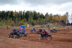 MOSCOW OBLAST, RUSSIA - SEPTEMBER 24 : Motocross, spectacular and extreme sport, off-road racing Quad bike ATV Russia, Klin 24 S. MOSCOW OBLAST, RUSSIA Stock Images