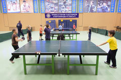 Childrens competition ping pong Stock Photography