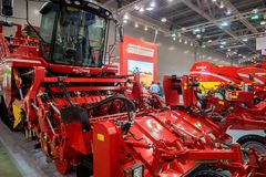 MOSCOW - OCTOBER 05, 2016: Agricultural exhibition, Rostov, Russia. MOSCOW - OCTOBER 05, 2016: Beet harvester and different machines at agricultural exhibition Royalty Free Stock Images