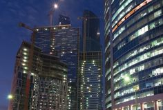Moscow. Office buildings at night Stock Image