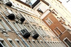 Moscow old house with black balcony Royalty Free Stock Photos