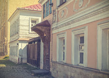 Moscow old street. Old street in Moscow. Vintage toned picture Stock Image