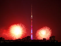 Moscow with Ostankino TV Tower and red firework Stock Photos