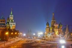 Moscow på natten Arkivbild