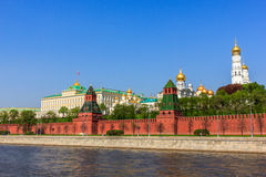 Ensemble of the Moscow Kremlin and Moskva river. The Grand Kremlin Palace, Kremlin wall and Moskva River, Moscow, Russia royalty free stock photography