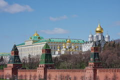 Moscow palace of conventions. And cathedral of archangel Mikhail on territory of Kremlin, russia Stock Images