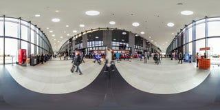 Moscow-2018 : panorama 3D sphérique avec l'angle de visualisation de 360 degrés de l'intérieur du centre d'exposition avec des pe photographie stock libre de droits