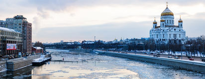 Moscow panorama at early spring sunset Stock Photo