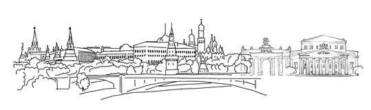 Moscow, Panorama Sketch. Monochrome Urban Cityscape Vector Artprint Stock Images