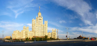 Moscow panorama at sunset. Moscow panorama with a small red tram at sunset Royalty Free Stock Photography