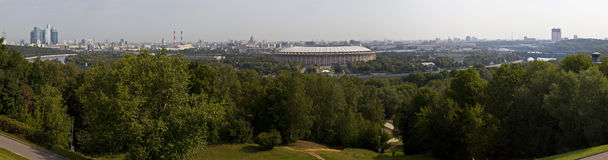 Moscow Panoramic View from Vorobyovy Hills Royalty Free Stock Photo