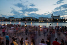 Moscow. Park of Culture and Rest Gorky .  River . dancing people. modal time Stock Photos