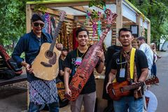 Moscow,Park on Krasnaya Presnya,August 05, 2018: three musicians from Indonesia with folk instrument royalty free stock photos