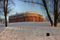 Moscow park Tsaritsyno in winter. Moscow old park palace band of Tsaritsyno Stock Photography