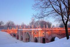 Moscow park Tsaritsyno in winter. Moscow old park palace band of Tsaritsyno Stock Photos