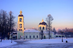 Moscow park Tsaritsyno in winter. Moscow old park palace band of Tsaritsyno Royalty Free Stock Photography