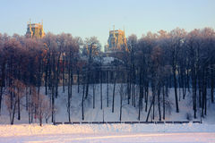 Moscow park Tsaritsyno in winter. Moscow old park palace band of Tsaritsyno Royalty Free Stock Images
