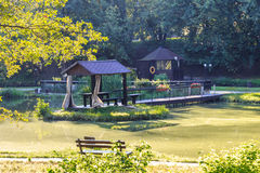 Moscow parks, pond at the Exhibition of Achievements of National Economy Stock Image