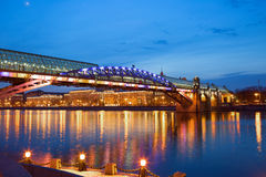 Moscow. Pedestrian bridge over the Moscow river in the evening. Royalty Free Stock Photos