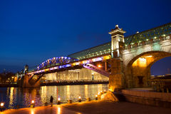 Moscow. Pedestrian bridge over the Moscow river in the evening. Stock Images