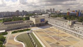 Moscow. People`s friendship University. The view from the height of bird flight. The road near University. Clear, Sunny weather. Students go to school stock video