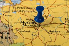 Moscow Pinned in a closeup map for football world cup 2018 in Russia.  stock photo