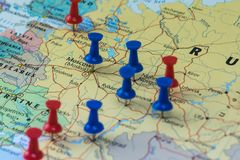 Moscow Pinned with other world cup venue cities in a closeup map for football world cup 2018 in Russia. Moscow Pinned in a closeup map for football world cup royalty free stock images