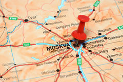 Moscow pinned on a map of europe stock images