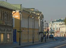 Moscow Pokrovka Street in the city center morning. Moscow Pokrovka Street in the city center 2014 august fragmet facade Stock Image