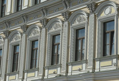Moscow Pokrovka Street fragmet facade. Moscow Pokrovka Street in the city center 2014 august fragmet facade Stock Photo