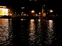 Moscow ponds. Ponds night Moscow lights water Royalty Free Stock Photos
