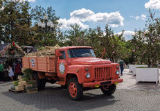 Moscow pozzy festival. Moscow, Russia - August 14, 2015:Retro truck is used as a decoration at the Moscow pozzy festival Stock Image